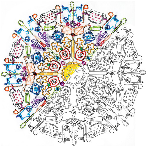 """Design Works/Zenbroidery Stamped Embroidery Kit 12""""X12""""-Kitchen Mandala -DW4050"""