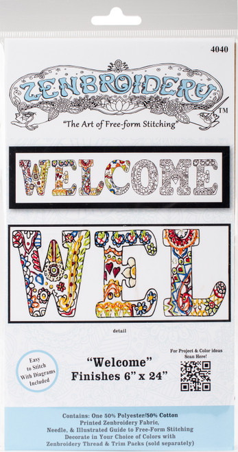 """Design Works/Zenbroidery Stamped Embroidery Kit 12""""X12""""-Welcome -DW4040 - 021465040400"""