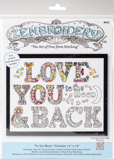 """Design Works/Zenbroidery Stamped Embroidery Kit 12""""X12""""-To The Moon -DW4042 - 021465040424"""