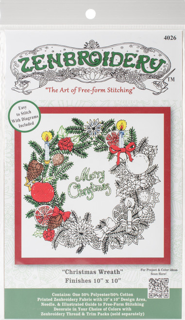 """Design Works/Zenbroidery Stamped Embroidery Kit 10""""X10""""-Christmas Wreath -DW4026 - 021465040264"""