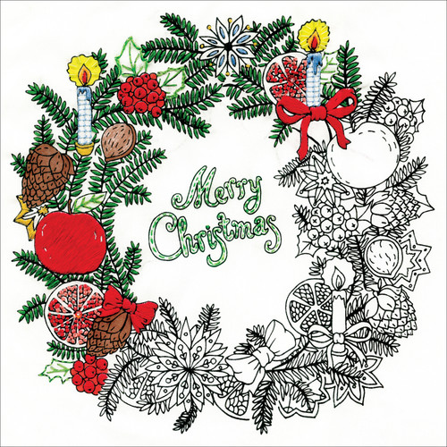 """Design Works/Zenbroidery Stamped Embroidery Kit 10""""X10""""-Christmas Wreath -DW4026"""