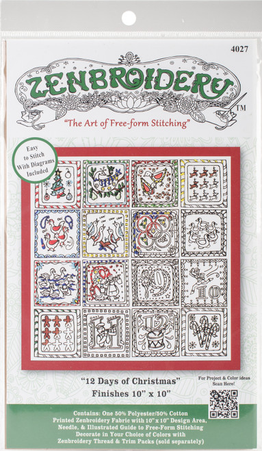 """Design Works/Zenbroidery Stamped Embroidery Kit 10""""X10""""-Twelve Days Of Christmas -DW4027 - 021465040271"""