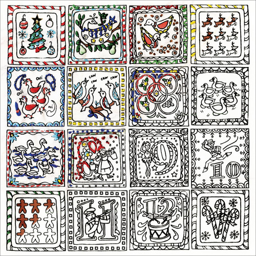 """Design Works/Zenbroidery Stamped Embroidery Kit 10""""X10""""-Twelve Days Of Christmas -DW4027"""