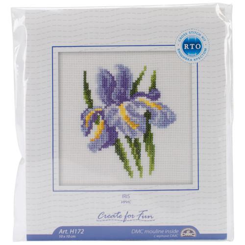 "RTO Counted Cross Stitch Kit 4""X4""-Iris Flower (14 Count) -H172 - 4603643015743"