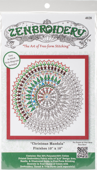 """Design Works/Zenbroidery Stamped Embroidery Kit 10""""X10""""-Christmas Mandala -DW4028 - 021465040288"""
