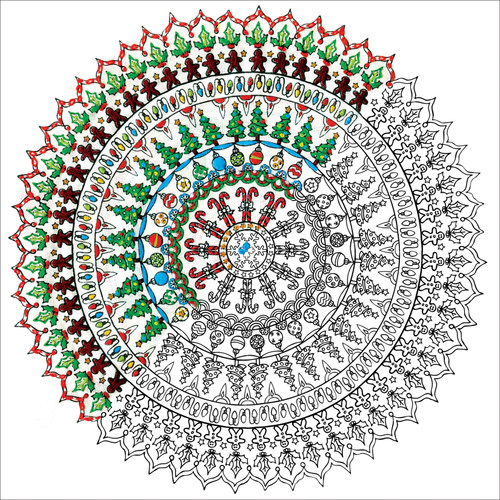"""Design Works/Zenbroidery Stamped Embroidery Kit 10""""X10""""-Christmas Mandala -DW4028"""