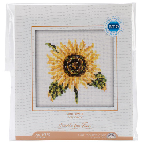 """RTO Counted Cross Stitch Kit 4""""X4""""-Sunflower (14 Count) -H170 - 4603643015729"""