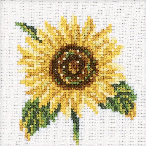 """RTO Counted Cross Stitch Kit 4""""X4""""-Sunflower (14 Count) -H170"""