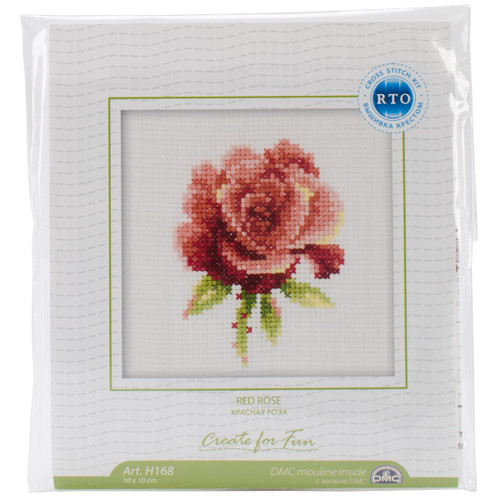 """RTO Counted Cross Stitch Kit 4""""X4""""-Red Rose (14 Count) -H168 - 4603643015705"""