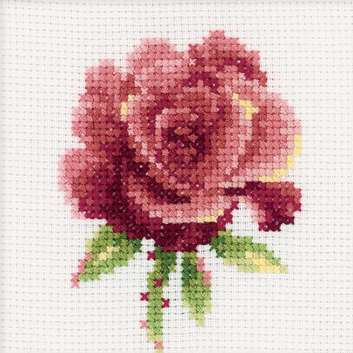 """RTO Counted Cross Stitch Kit 4""""X4""""-Red Rose (14 Count) -H168"""