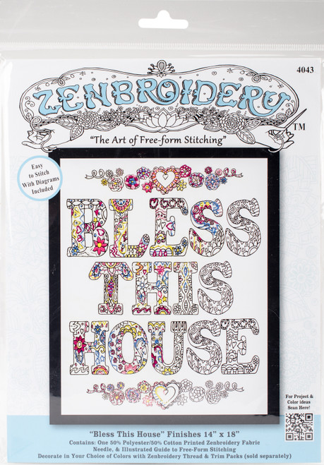 """Design Works/Zenbroidery Stamped Embroidery Kit 12""""X12""""-Bless This House -DW4043 - 021465040431"""