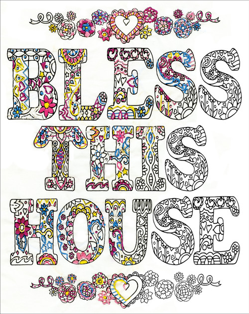 """Design Works/Zenbroidery Stamped Embroidery Kit 12""""X12""""-Bless This House -DW4043"""