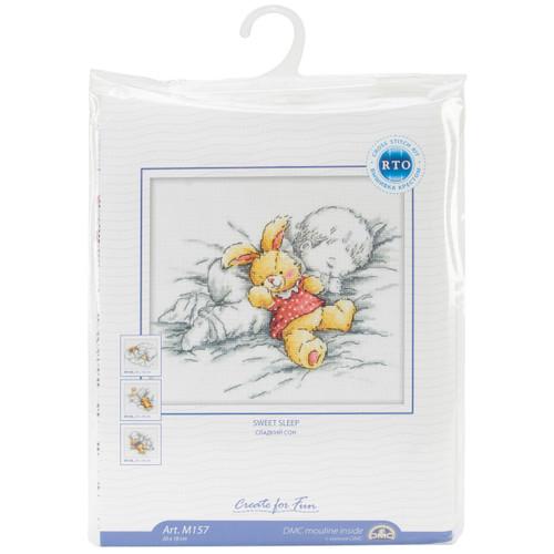 "RTO Counted Cross Stitch Kit 8""X7.25""-Baby W/Rabbit (14 Count) -M157 - 4603643060835"