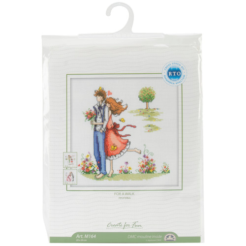 """RTO Counted Cross Stitch Kit 8""""X8""""-Couple In The Park (14 Count) -M164 - 4603643060903"""