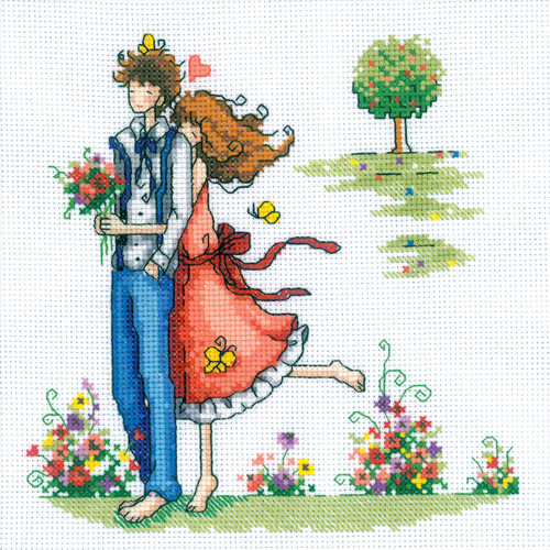 """RTO Counted Cross Stitch Kit 8""""X8""""-Couple In The Park (14 Count) -M164"""