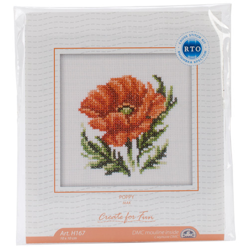 """RTO Counted Cross Stitch Kit 4""""X4""""-Poppy Flower (14 Count) -H167 - 4603643015699"""