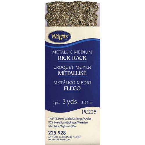 "Wrights Medium Metallic Rickrack .5""X3yd-Antique Gold -117-225-928 - 070659723902"