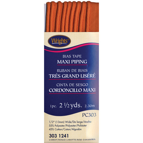 """Wrights Bias Tape Maxi Piping .5""""X2.5yd-Carrot -117-303-1241 - 070659723995"""