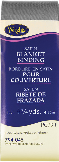 "Wrights Single Fold Satin Blanket Binding 2""X4.75yd-Light Gray -117-794-045 - 070659724572"