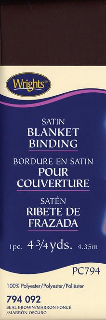 "Wrights Single Fold Satin Blanket Binding 2""X4.75yd-Seal Brown -117-794-092 - 070659724589"