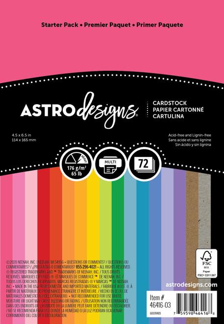 "Neenah Astrodesigns Cardstock Pack 4.5""X6.5"" 72/Pkg-18 Bold & Vivid Colors -4641603 - 759598464168"