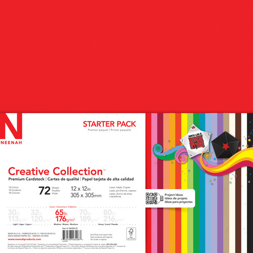 """Neenah Creative Collection Cardstock Pack 12""""X12"""" 72/Pkg-18 Bold & Vivid Colors -4640802 - 759598464083"""