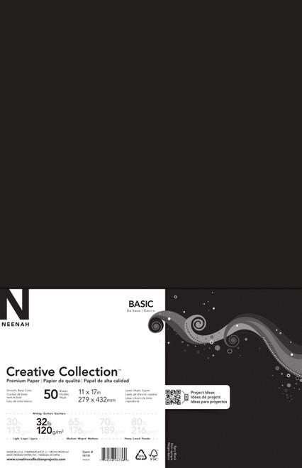"Neenah Cardstock 11""X17"" 32lb (120gsm) 50/Pkg-Epic Black -98736 - 759598987360"