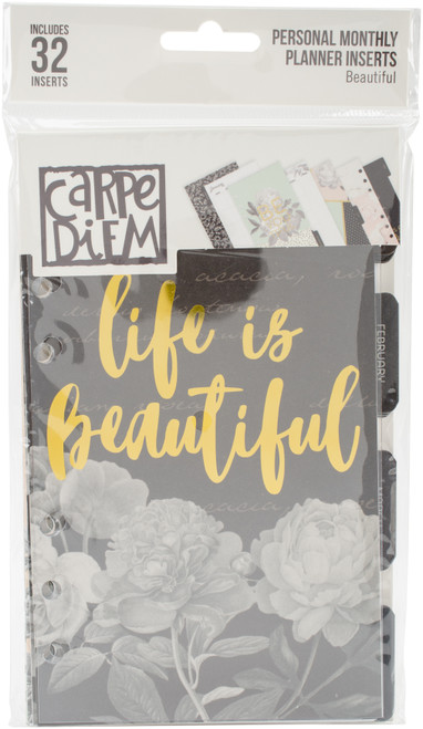 Carpe Diem Beautiful Double-Sided Personal Planner Inserts-Monthly, Undated -BEA7991 - 816502024778