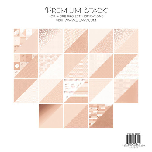 "DCWV Double-Sided Cardstock Stack 12""X12"" 36/Pkg-Rose Quartz, 12 Designs/3 Each -PS005561"