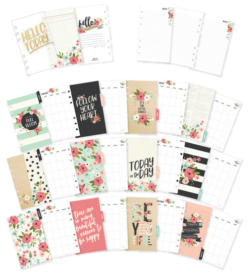 Carpe Diem Bloom Double-Sided Personal Planner Inserts-Monthly, Undated -BLM7990
