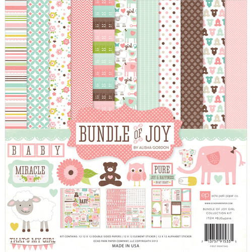 "Echo Park Collection Kit 12""X12""-Bundle Of Joy Girl -BJG45016 - 713757915335"