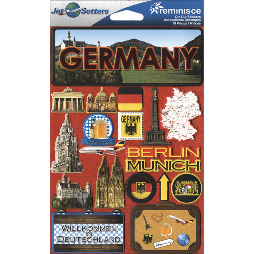 """Reminisce Jet Setters Country Dimensional Stickers 4.5""""X7.5""""-Germany -JSTI-057 - 895707165578"""