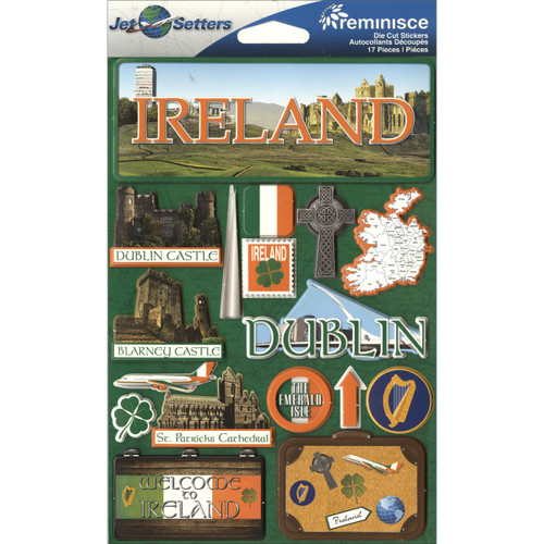 """Reminisce Jet Setters Country Dimensional Stickers 4.5""""X7.5""""-Ireland -JSTI-058 - 895707165585"""