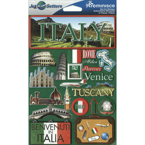 """Reminisce Jet Setters Country Dimensional Stickers 4.5""""X7.5""""-Italy -JSTI-059 - 895707165592"""