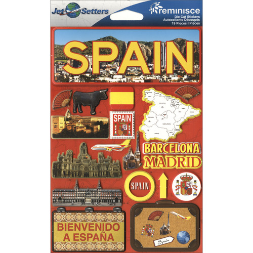 """Reminisce Jet Setters Country Dimensional Stickers 4.5""""X7.5""""-Spain -JSTI-063 - 895707165639"""