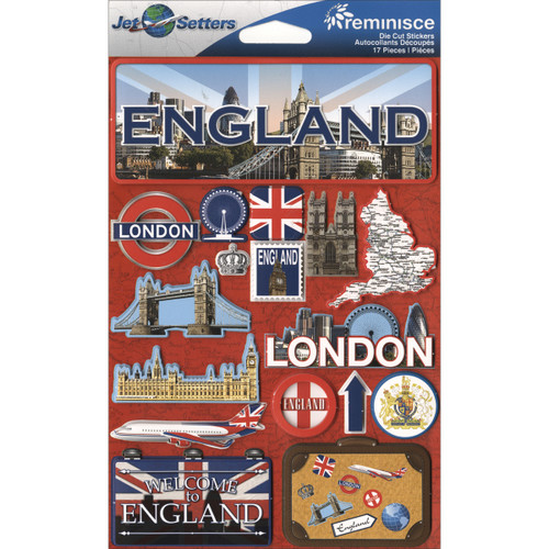 """Reminisce Jet Setters Country Dimensional Stickers 4.5""""X7.5""""-England -JSTI-055 - 895707165554"""