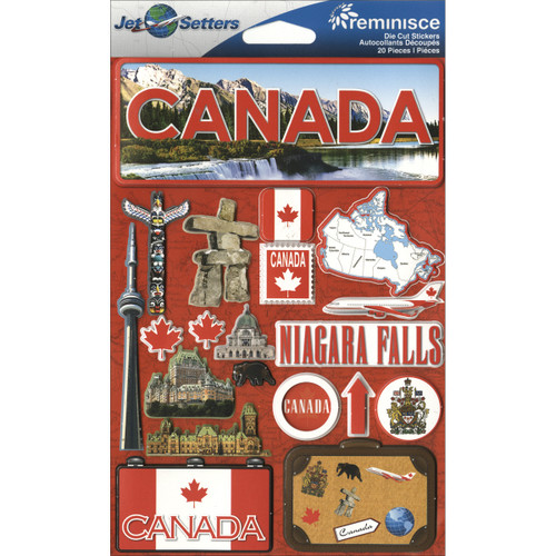 """Reminisce Jet Setters Country Dimensional Stickers 4.5""""X7.5""""-Canada -JSTI-053 - 895707165530"""