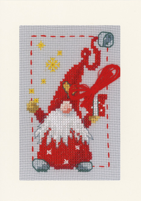 """Vervaco Counted Cross Stitch Greeting Card Kit 4.2""""X6"""" 3/Pk-Christmas Gnomes on Aida (14 Count) -V0185078 - 5400946001904"""