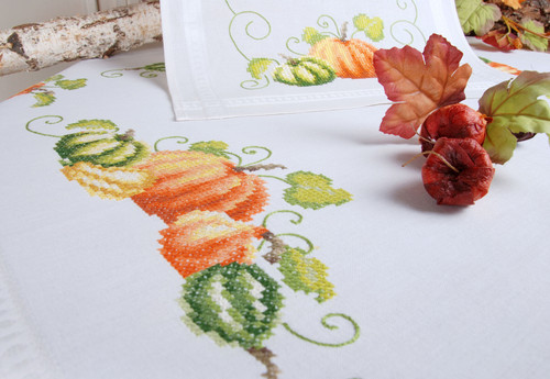 "Vervaco Stamped Tablecloth Cross Stitch Kit 32""X32""-Pumpkins -V0013416"