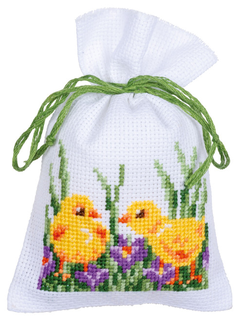 """Vervaco Counted Cross Stitch Sachet Bags Kit 3.2""""X4.8"""" 3/Pkg-Rabbits With Chicks (18 Count) -V0187096"""