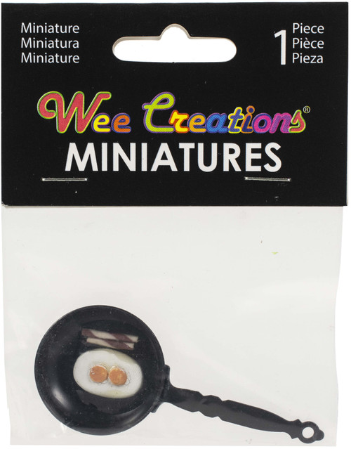 """3 Pack Touch Of Nature Wee Creations Miniature 2.5""""-Pan Of Eggs And Bacon -MD61145 - 684653611457"""