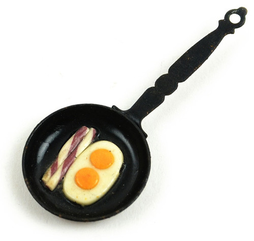 """3 Pack Touch Of Nature Wee Creations Miniature 2.5""""-Pan Of Eggs And Bacon -MD61145"""