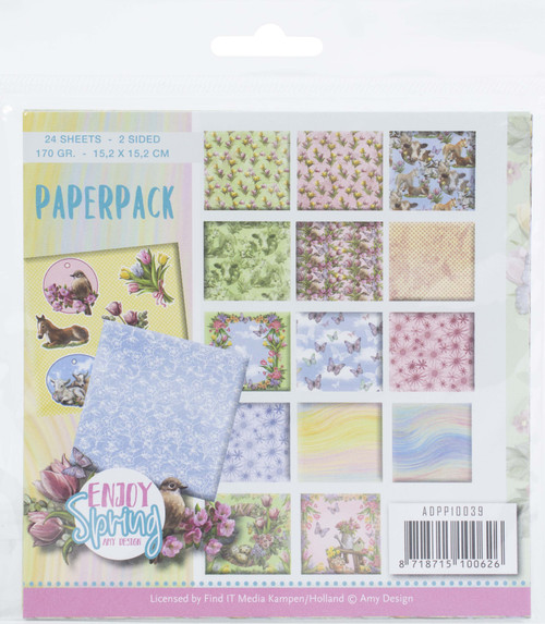 """Find It Trading Amy Design Paper Pack 6""""X6"""" 24/Pkg-Enjoy Spring, Double-Sided -APP10039 - 8718715100626"""