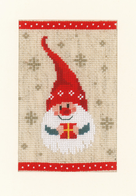 """Vervaco Counted Cross Stitch Greeting Card Kit 4.2""""X6"""" 3/Pk-Christmas Gnomes on Aida (18 Count) -V0184428"""