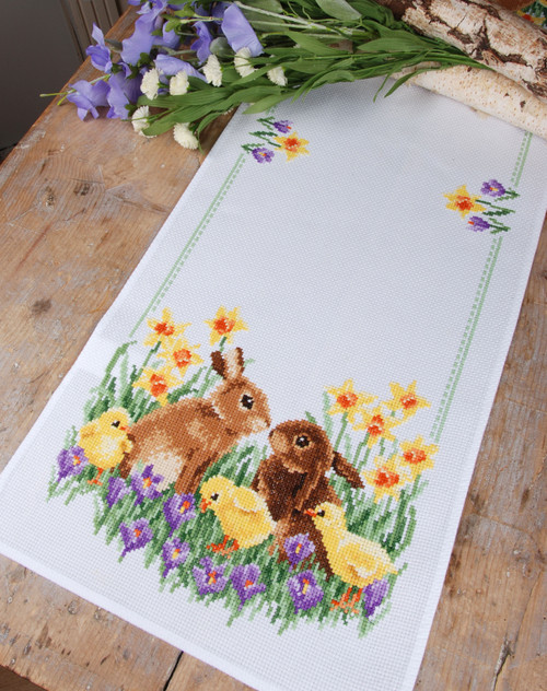 """Vervaco Counted Cross Stitch Table Runner Kit 12.8""""X33.6""""-Rabbits With Chicks (11 Count) -V0183468 - 5400946001171"""
