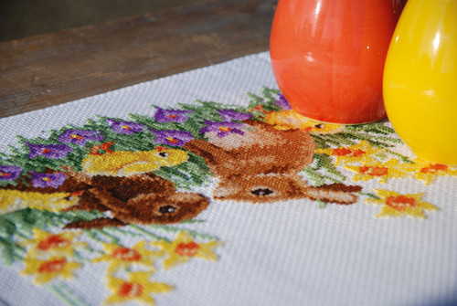 """Vervaco Counted Cross Stitch Table Runner Kit 12.8""""X33.6""""-Rabbits With Chicks (11 Count) -V0183468"""