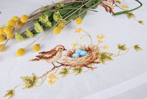 """Vervaco Stamped Tablecloth Cross Stitch Kit 32""""X32""""-Little Bird in Nest -V0155231 - 5400946001188"""