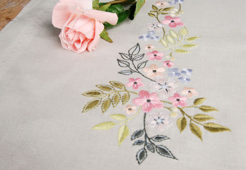 """Vervaco Stamped Table Runner Cross Stitch Kit 16""""X40""""-Flower & Leaves -V0170760"""