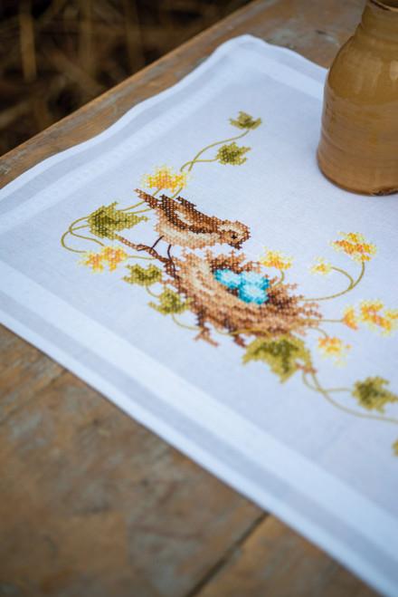 "Vervaco Stamped Table Runner Cross Stitch Kit 16""X40""-Little Bird in Nest -V0183686"
