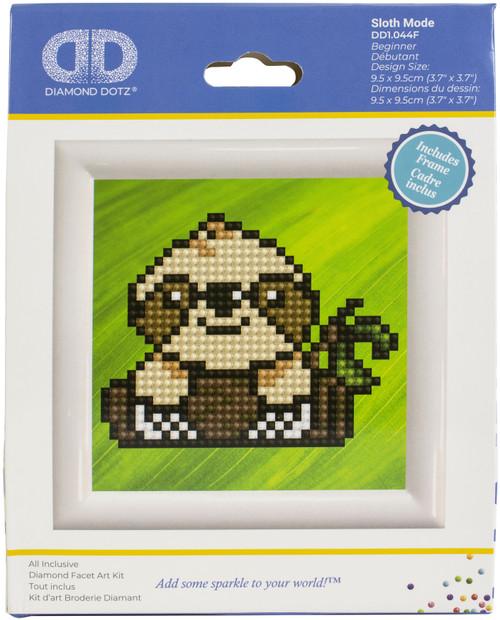 "Diamond Dotz Diamond Art Kit with Frame 3""X3""-Sloth Mode -DD1044F - 4895225915453"
